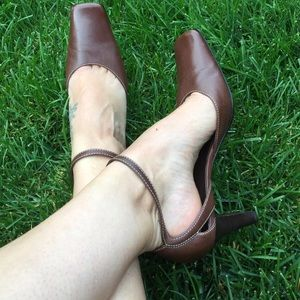 Linea Paolo, Brown, Ankle Strap Heels. Size 6.5M